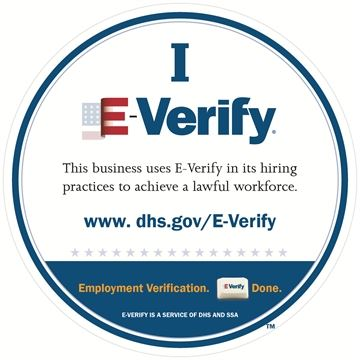 E-Verify Seal indicates this business uses e-verify in its hiring practice.